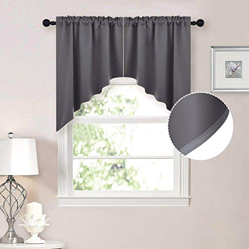 NICETOWN Half Window Kitchen Tier Curtains- Tailored Scalloped Valance /Swags for Basement (One Pair, 36 by 36-inches Each Panel, Grey)