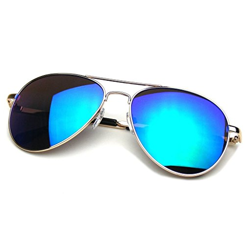 Emblem Eyewear Flash Espejo Espejada Lente Gafas De Sol Aviador Marco De Metal De Calidad (Oro)