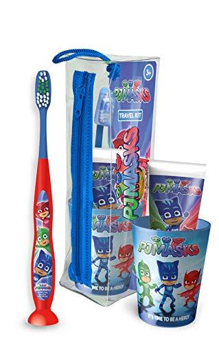 MR WHITE - Travel Kit/Pochette PJ Mask: Set Igiene orale composto da spazzolino da denti manuale con ventosa, dentifricio 75ml, bicchiere e comoda pochette da viaggio