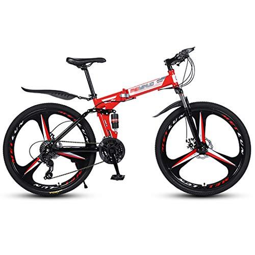 ZTMN Bicicleta Plegable de montaña Bicicleta de montaña de 21 velocidades Bicicleta de montaña de 26 Pulgadas Bicicleta Plegable Bicicleta de Doble Choque