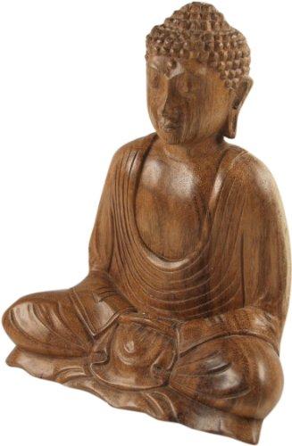 Guru-Shop Buda de Madera de 20 cm, Dhyana Mudra, Maderasuar, Figuras de Buda y las Ruedas de Oración