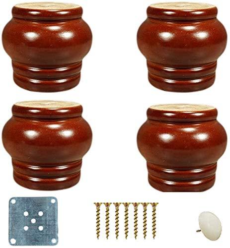 4X Massivholz Ersatzmöbel Beine, rundes fertiges Sandwich Bein, Eukalyptus Sofa Beine, osmanischen Schrank TV-Ständer Kommode Stuhl Bett Couchtisch Sofa Bein, mit Zubehör, 7,5 cm Höhe