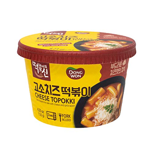 Dongwon Topokki Korean Stick-shaped Rice Cake with Cheese and Spicy Sauce, 4.23 oz