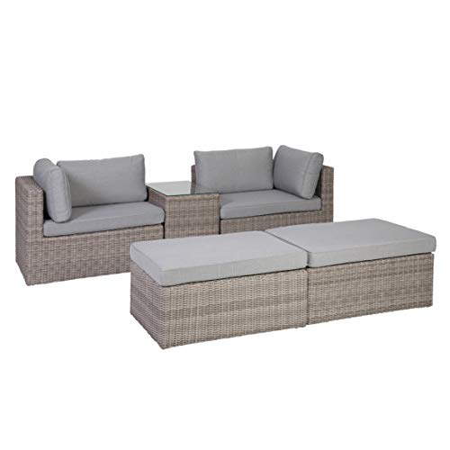 Greemotion Palma Rattan Lounge-Set, grau - 5