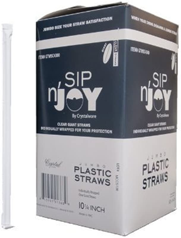 Crystalware GTWSC4300 Plastic Giant Jumbo Straws Individually Wrapped 10 1 4 Clear 300 Per Box