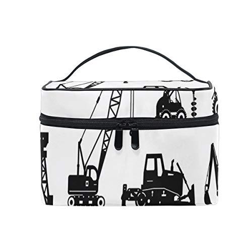 ZORMIEY Bolsa de cosméticos grande, bolsa de lavado, bolsa de almacenamiento para mujeres,Siluetas Negras Hormigonera Máquinas Conjunto Industrial Camiones Tractores