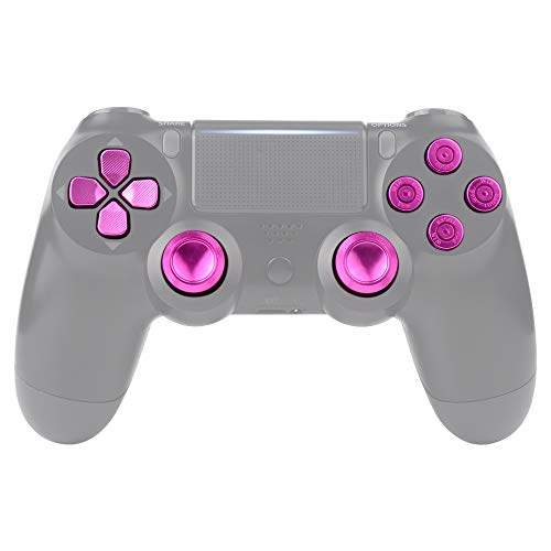 eXtremeRate PS4 Button Thumbsticks D-Pad Steuerkreuz aus Aluminium für Playstation 4/PS4 Slim/PS4 Pro Controller,Bundle Munition Thumbsticks Bullets Tasten Kappen Zubehör(Pink)
