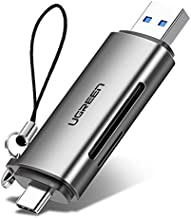 UGREEN SD Card Reader USB Type C USB 3.0 OTG Memory Card Adapter Portable 2 Slots for TF, SD, Micro SD, SDXC, SDHC, MMC, RS-MMC, Micro SDXC, Micro SDHC, UHS-I for Mac, Windows, Linux, PC, Laptop