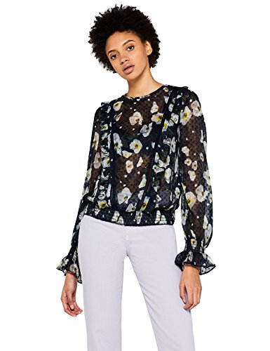 Marchio Amazon - find. Blusa Trasparente con Fantasia Floreale Donna, Multicolore (Multicoloured), 44, Label: M