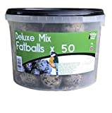 Grumpy Gardener 50 x Deluxe Mix FatBalls per tub. Packed full of tasty cereals, oils, fats, seeds and minerals that your feathered friends will love.