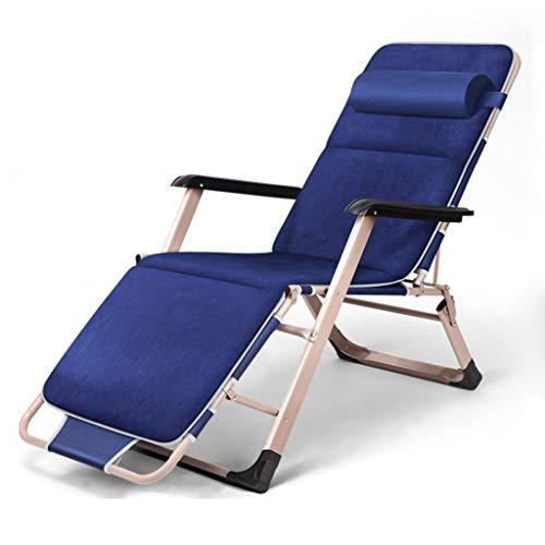 Chaise longue pliante Chaise longue pliable Chaise jardin inclinable Coussin velours en peau daim repose-jambes inclinable dos + appui-tête (Couleur : Bleu)