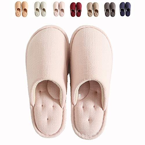 LQLD para Hombre De Gran Tamaño De Algodón Zapatillas, Mute Antideslizante De La Cubierta Zapatos Calientes Silencioso Algodón para Las Mujeres con EVA Soles,A,39/40