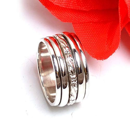 Solid 925 Sterling Silver Spinner Ring Red Garnet Ring Anxiety Ring Meditation Ring Spinner Ring Silver Spinner Ring All Ring Size