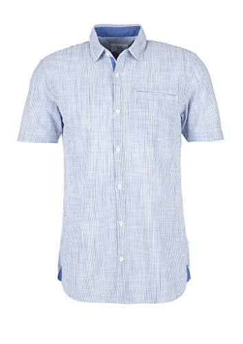 Q/S designed by - s.Oliver Herren Extra Slim: Kurzarmhemd white stripes L
