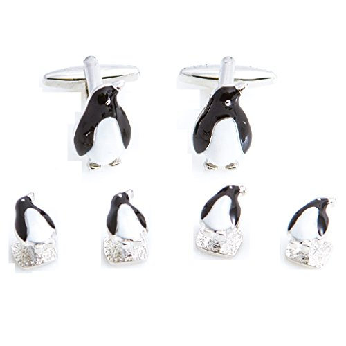 MRCUFF Penguin Tuxedo Cufflinks & Studs Formal Set in Presentation Gift Box & Polishing Cloth