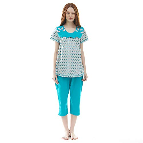 SXX Las mujeres embarazadas pijamas pijamas sueño verano de las mujeres de manga corta de algodón Pjs recortadas pantalones casuales Inicio Servicio Loungewear,Azul,L
