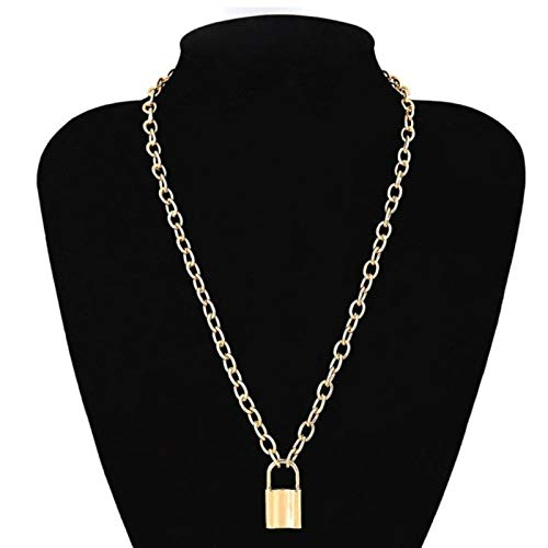 Daman Punk Simple Padlock Pendant Necklace Hip Hop Lock Necklaces For Women Gold Silver Color Chunky Necklace Chain On The Neck,S02-1