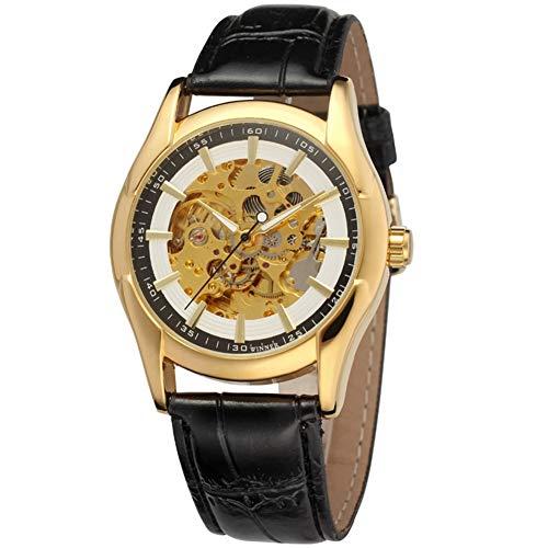 GJHBFUK Reloj de Hombre Reloj De Hombre De Cuero Mecánico De PU Automático Hueco (Esfera De Oro Blanco)