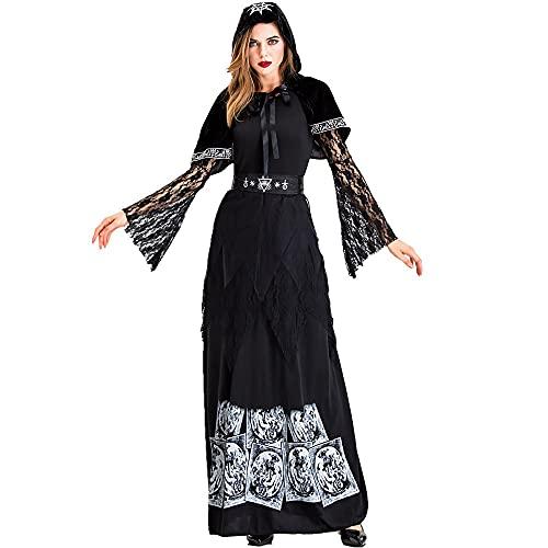 Natinr Disfraz De Bruja Fantasma Cosplay Vestido GTico Sexy, Vestido De Piso De Morticia Addams, Capa Negra con Capucha, Carnaval De Halloween