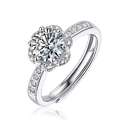 Hasril 925 Sterling Silver 1CT Moissanite Engagement Ring for Women Adjustable with...