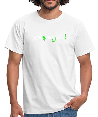 Yes We Can Vegan Korrektur Männer T-Shirt, M, Weiß