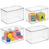 mDesign bac rangement jouet (lot de 4) – grande boîte de rangement plastique robuste pour la chambre d'enfants – boîte avec couvercle empilable pour ustensiles de bricolage, jouets, etc. – transparent