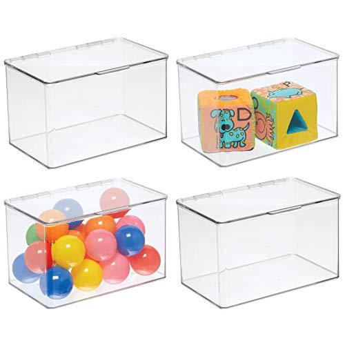 mDesign 4er-Set Spielzeugaufbewahrung – große Aufbewahrungsbox mit Deckel aus stabilem Kunststoff – stapelbare Box zum Bastel- und Spielsachen verstauen im Kinderzimmer – durchsichtig