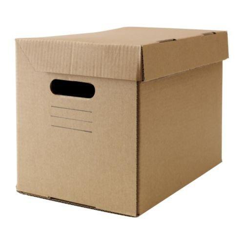 Ikea PAPPIS Boxen mit Deckel; in braun; (25x34x26cm); 10 Stück