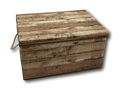 Urban Design Caja de almacenaje Plegable con Tapa y asa, Cuerda de Tejido en Aspecto de Madera de Estilo Retro (Mediana y marrón)