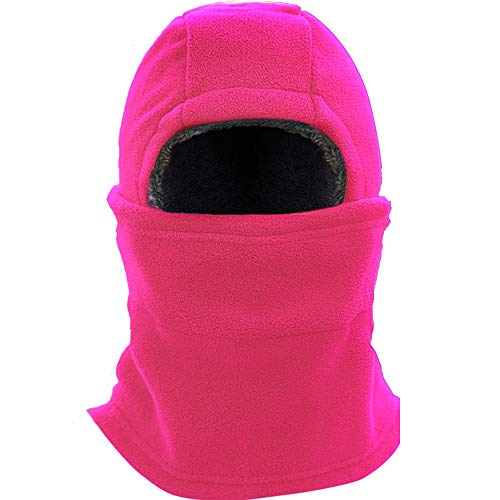 Super Thick Adjustable Soft Balaclava Scarf Winter Windproof Ski Face Mask for Men/Women/Kids,Cold Weather Fleece Hat/Hood Neck Warmer for Skiing Cycling Motorcycle Outdoor Sport-Pink