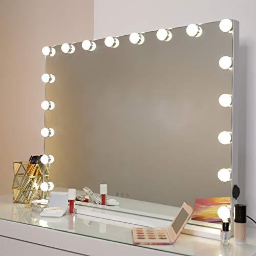 DAYU Hollywood-Stil Tischspiegel Kosmetik Schminkspiegel mit 3 Farbe Licht, Beleuchteter Spiegel Kosmetikspiegel mit 18 dimmbaren LED-Lampen mit USB