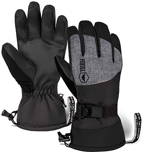Ski & Snow Gloves - Waterproof Winter Snowboard Gloves for Skiing, Snowboarding fits Men & Women - Windproof Cold Weather Gloves w/ Wrist Leashes, Thermal Insulation & Synthetic Leather Palm