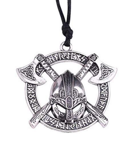 Anhänger für Halskette, Motiv: Wikinger/ Berserkermit Doppelaxt, Runeninschrift, Helm