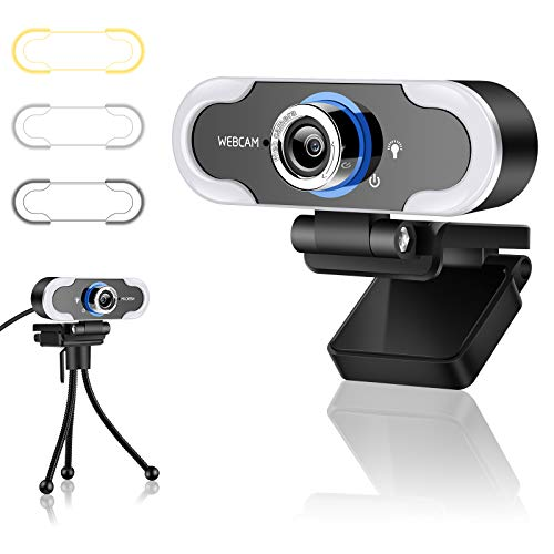 Webcam with Microphone for Desktop with 3 Adjustable Brightness, Advanced Auto-Focus, 1080P HD USB Computer Cameras with 360° Rotation Tripod 120 Degrees Wide-Angle, Built-in Dual Noise Reduction Mics