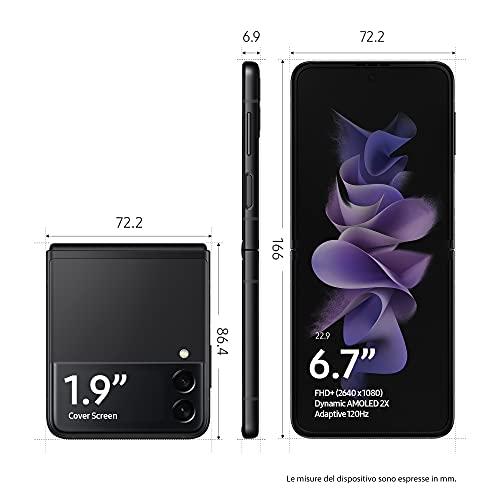 "Samsung Galaxy Z Flip3 5G, Caricatore incluso, Smartphone Sim Free Android Telefono Pieghevole 256GB Display Dynamic AMOLED 2X 6,7""/Super AMOLED 1,9"" Awesome Black 2021 [Versione Italiana]"
