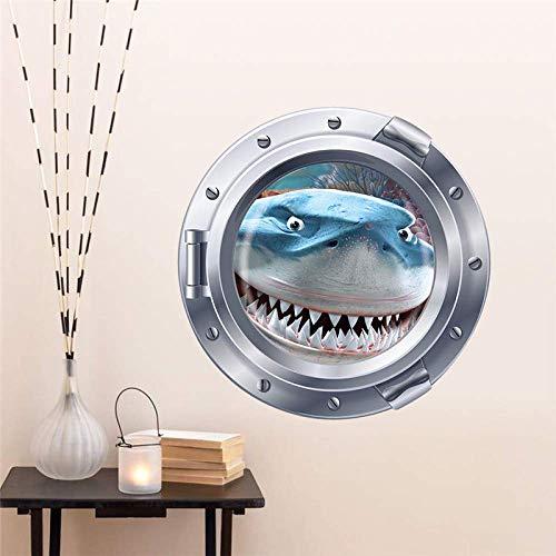 Lächelnd Große Hai U-Boot Bullaugen Wandaufkleber Für Waschmaschine Dekoration Diy Peel Und Stick 3D Effekt Wandtattoos Kunst 43X43Cm