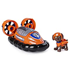 Transforming hovercraft toy: Zuma is ready to save the day in his transforming hovercraft! With working wheels, rotating turbines, and a flip-open hook, This hovercraft is on its way to an exciting mission! Flip open hook: push the Paw Patrol badge o...