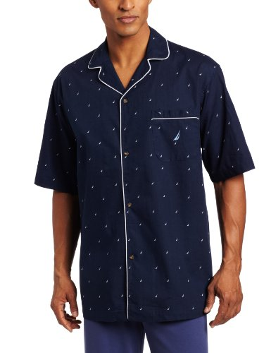 Nautica Men's Short Sleeve 100% Cotton Soft Woven Button Down Pajama Top, Peacoat, Large