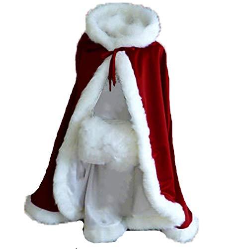 Burgundy Short Women Fur Winter Warm Hood Cape Shawl Wedding Cloak Christmas Party