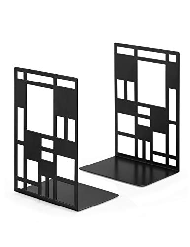 Book Ends, Bookends, Book Ends for Shelves, Bookends for Heavy Books, Book Divider Decorative Holder, Metal Heavy Duty Bookend Black 1 Pair, Abstract Art Desgin Book Stopper Supports for Office, Home