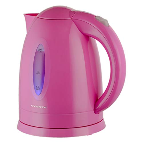 Ovente Electric Hot Water Kettle 1.7 Liter with LED Light, 1100 Watt BPA-Free Portable Tea Maker Fast Heating Element with Auto Shut-Off and Boil Dry Protection, Brew Coffee & Beverage, Pink KP72P