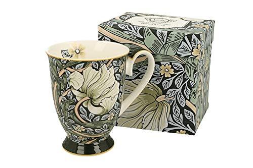 DUO Kaffeetasse Green William Morris mit Fuß 300ml große Tasse XXL Teetasse Kaffee-Tasse Tee-Tasse Tasse für Tee und Kaffee Blumenmotiv Kaffeebecher Porzellan Kaffee-Becher Teebecher Blumen Grün