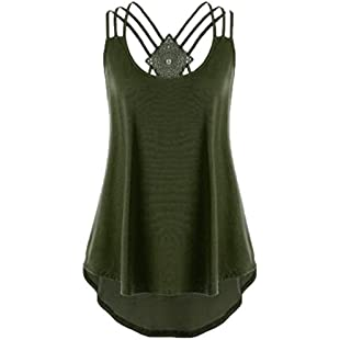 Customer reviews HOMEBABY🔥 Women Sleeveless Vest Top,Girls Casual Tank Tops Short Sleeve T-Shirt Blouse Loose Printed Summer Jumpers T Shirt Dress Crop Tops (M/UK Size10, Army Green)