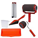 zhengbenchang paint racer pro multi-function paint roller set, multifunzionale seamless paint runner set, roller set with sticks paint, paint roller brush kit(red)