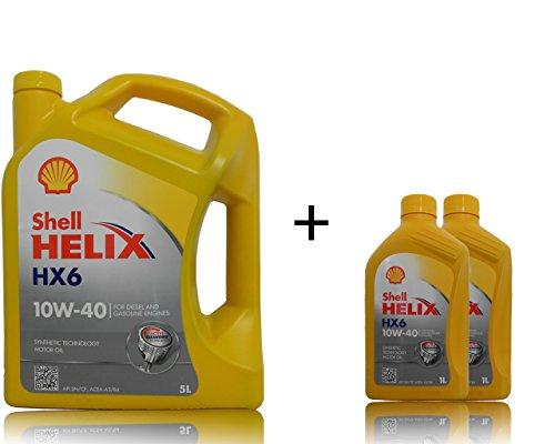 1 x 5 + 2 x 1 liter Shell Helix HX6 10W-40 motorolie.