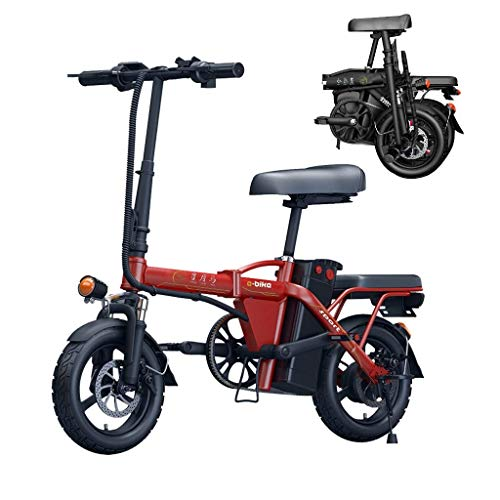 LZMXMYS Bici elettrica, Bici elettrica Pieghevole for Gli Adulti, 14' Bicicletta elettrica/Commute Ebike con 250W Motore, Removibile Impermeabile e Antipolvere 48V 6Ah-36Ah Batteria al Litio