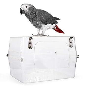 Colorday Grand Bain d'oiseau avec Vue dégagée, Grays, amazones, Conures, perruches, Perruche. 33 * 28 * 20cm Mise à Niveau