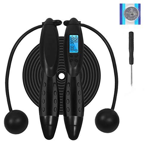Rehomy Digital Counting Jump Rope, Adjustable Fitness Sport Skipping Ropes with Calories Counter/Timer/Weight Setting for Children and Adults