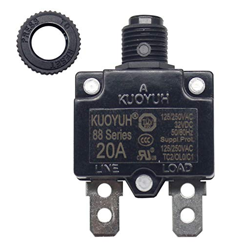 KUOYUH Circuit Breaker 88 series 125/250VAC 50/60Hz (18-30A) (1pc) (20 Amp)