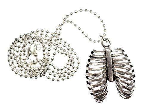 Miniblings Lunge Kette Halskette 80cm Anatomie Brustkorb Rippen Metall Silber